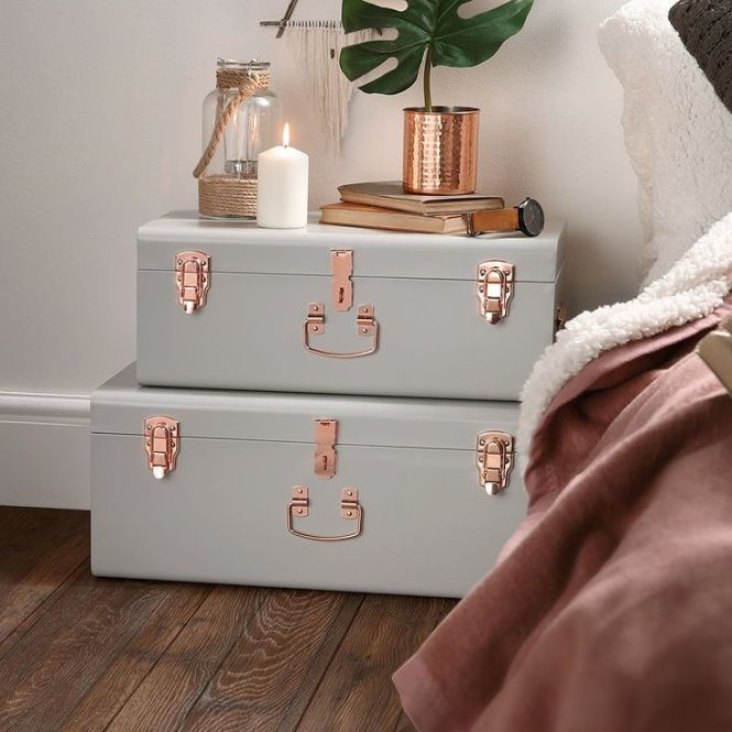 Com Beautify Gray Vintage Style Steel Storage Trunk Set With Rose Gold Greybedroom Decor