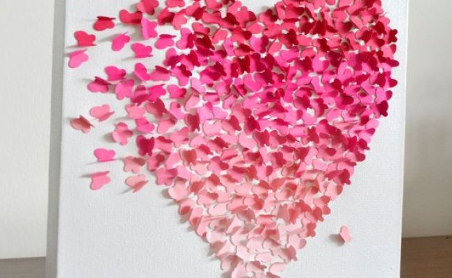 3d Butterfly Heart Wall Art Small Pink Ombre Nursery