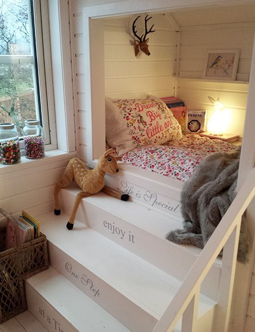 A Scandinavian dream for a little girl. This is adorable…but I would find the bed a little challenging to make!