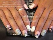 rhinestones nail design nails