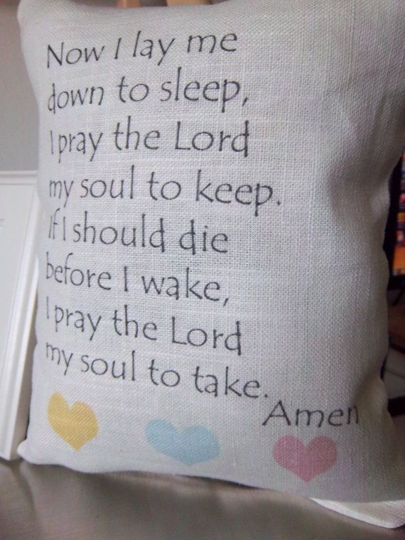 Prayer Throw Pillow Linen Cushion Gender Neutral Baby Gift