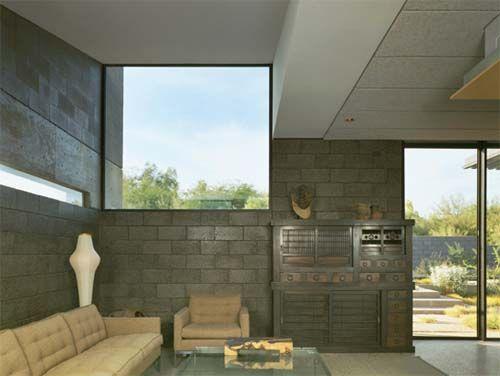 Concrete Block Living Room Of Desert House