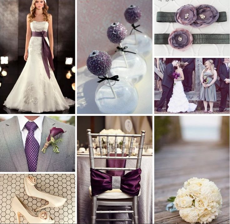 Eggplant grey and cream wedding inspiration  What I