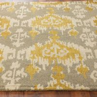 Hand Hooked Ikat Rug | Grey, Kitchen rug and In kitchen