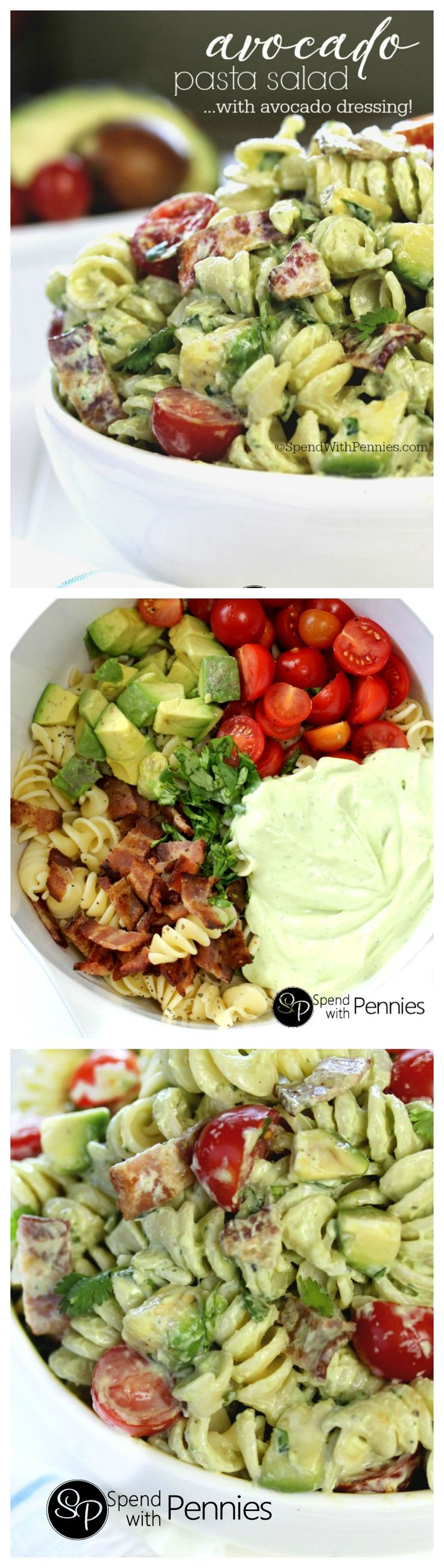Cold pasta salads are the perfect & satisfying quick dinner or lunch! This delicious pasta salad recipe is loaded with avocados,