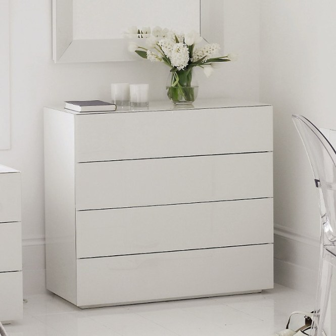 High Gloss White Gl Carlton 4 Drawer Chest Of Drawers The Company