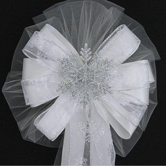Silver Glitter Snowflake Wedding Pew Bow  Church Wedding