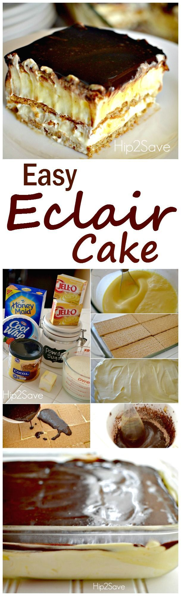 A wonderful and easy eclair dessert cake recipe. Enjoy this will your family after a wonderful meal, or make it to impress your