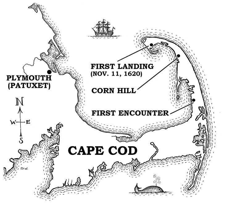 Map of Cape Cod, and places relevant to the Mayflower