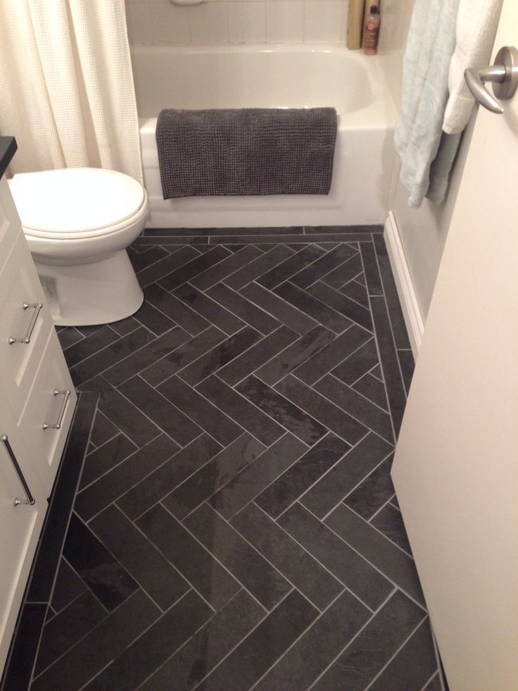 gray herringbone bathroom floor tile  Bathroom decor