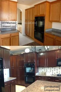 diy restaining kitchen cabinets