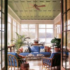 Modern Country Decor Living Rooms Vintage Room Chairs A Porch With Color - Green Ceiling   Outdoor ...