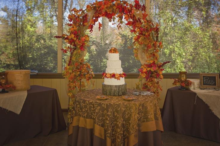 Cake Table Outdoor Fall Wedding