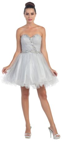 Poofy Short Homecoming Dress Silver Tulle Strapless ...