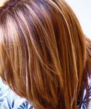 auburn lowlights with blonde highlights