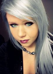 silver dyed hair cosmetics green