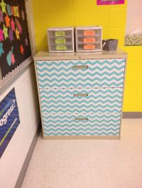 Cover a filing cabinet in contact paper to give it a new ...