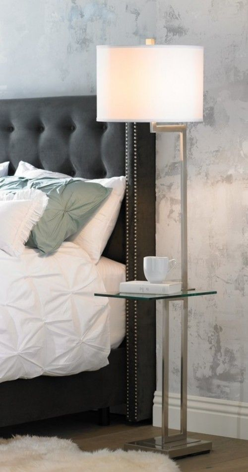 Rudko Floor Lamp Tray Table Polished Steel Finish and