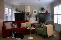 Family Room with red couch and gray walls | basement ...
