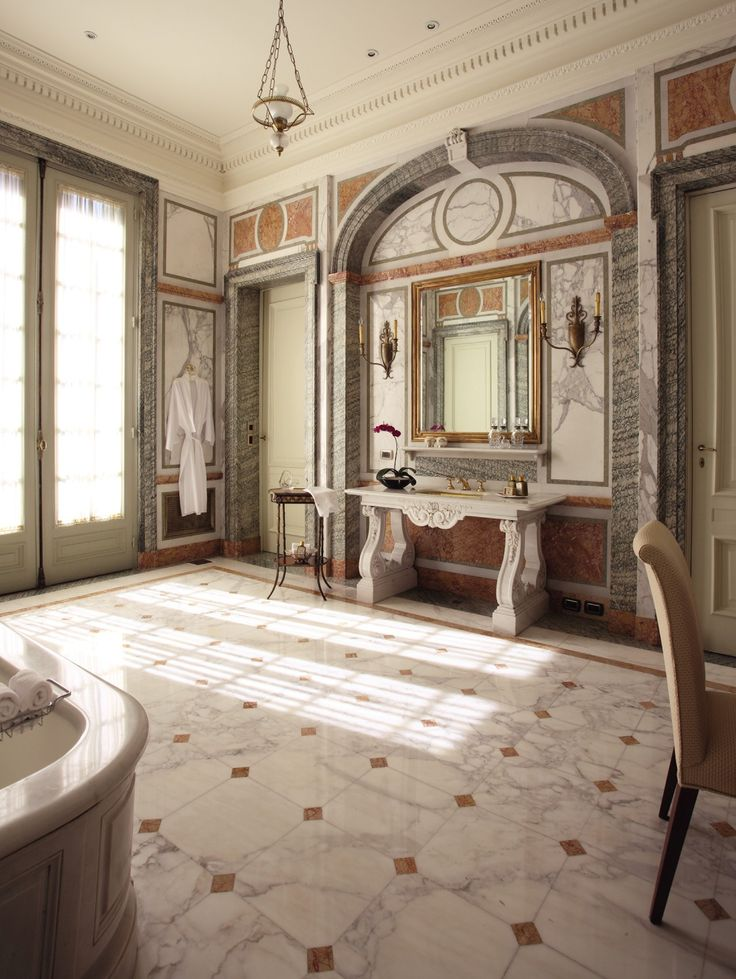 Belle Poque Style Full Marble Bathroom In La Mansin