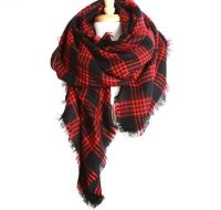 Red Plaid Blanket Scarf | Red and Black Scarves Oversized ...
