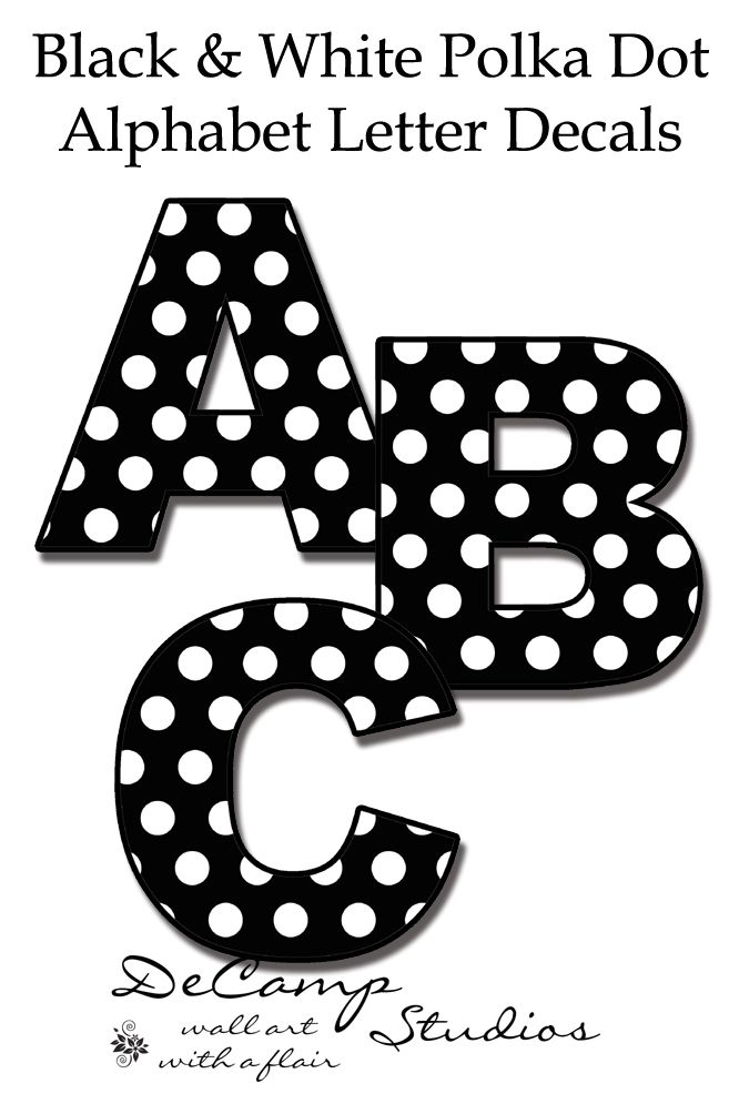 Black and White Polka Dot Alphabet Letter wall decals for