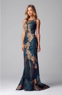 Alberto Makali Teal Lace applique evening gown | Dresses ...