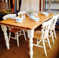 Farmhouse tabletop in pine and four chairs painted with ...
