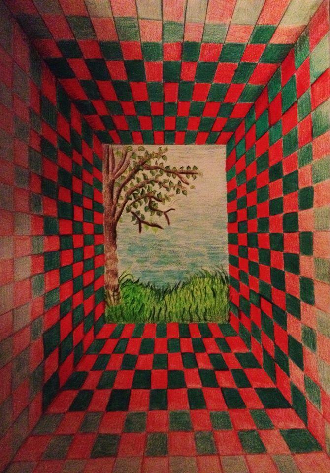 Prospettiva centrale con sfondo a paesaggio  Disegni  Pinterest