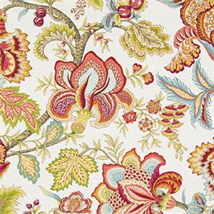 Jacobean Swag Coral Floral Drapery Fabric By Robert Allen SW50679 Discount By The Yard