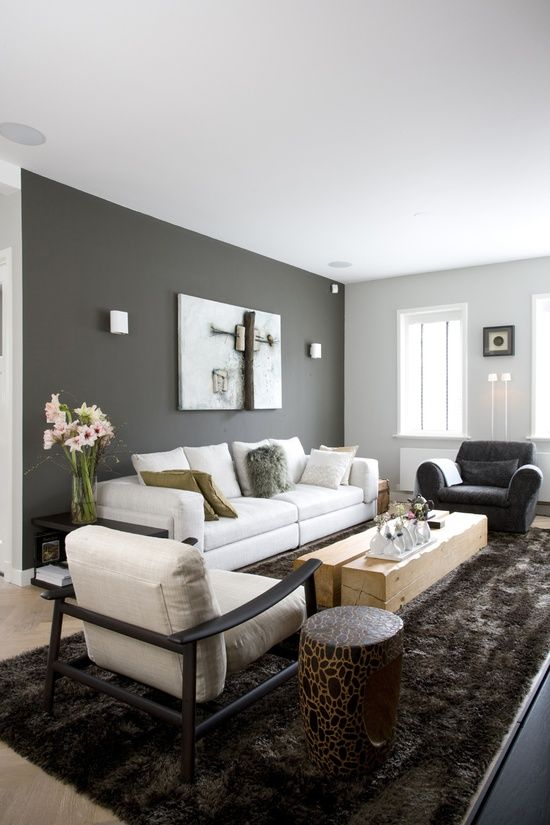 Living room dark grey wall light grey couch shiny chocolat carpet  Wall paint ideas and