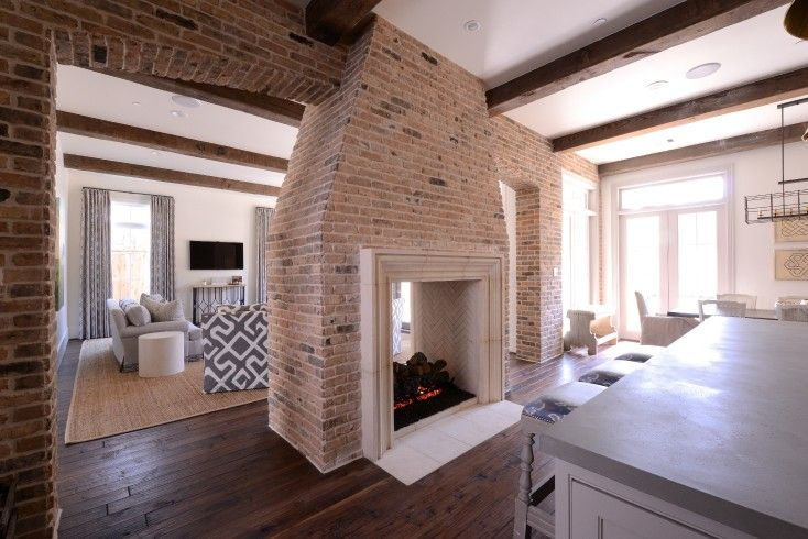 Multi Sided Fireplace Transitional Kitchen Munger