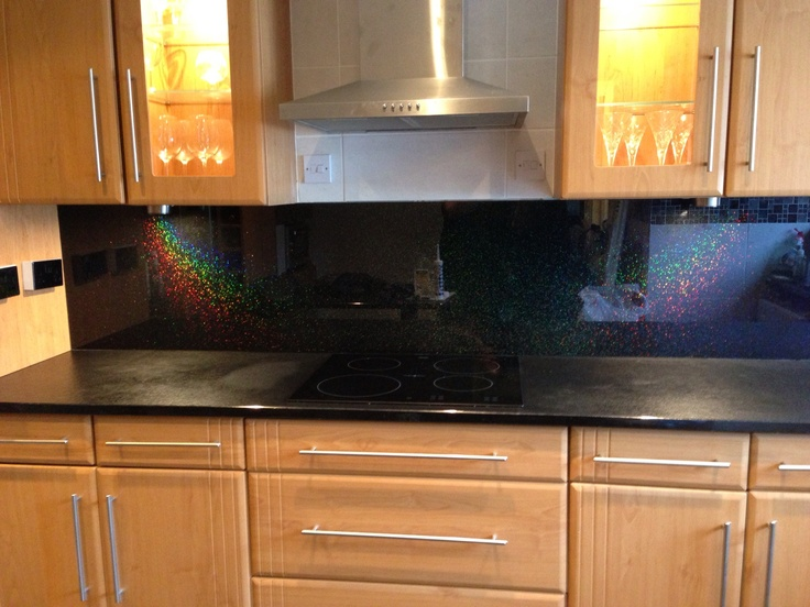horizontal kitchen cabinets recycled glass countertops black rainbow sparkle splash back www.nankivells.com | for ...