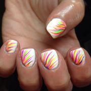 nails nail art white neon rainbow