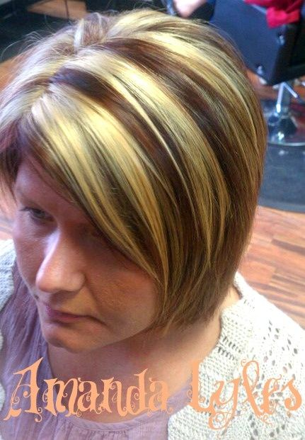 Brown And Red Chunks Highlights Chunky Bright Blonde