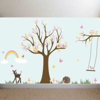 Nursery Playroom Owl Tree Deer Bird Swing Vinyl Wall Art