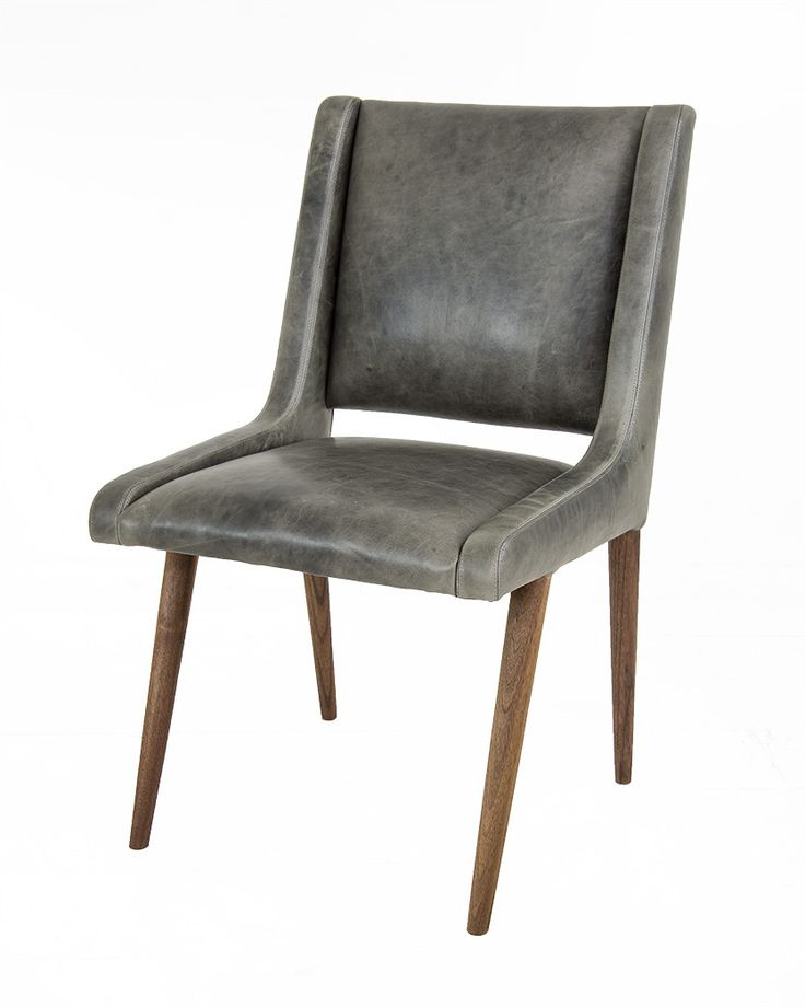 Mid Century Dining Chair in Distressed Grey Leather  Grey