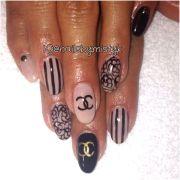 coco chanel nail art. black