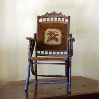 "Victorian tapestry chair, 1800s folding ""lawn"" chair"