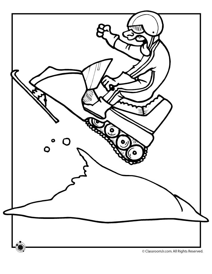 winter coloring pages snowmobile page classroom jr
