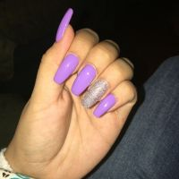 Lavender coffin nails with glitter accent | Nails galore ...