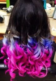 dip dye pink blue hair