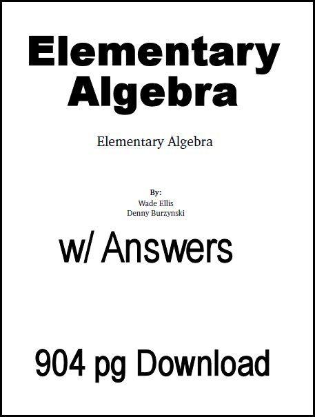 Elementary Algebra Textbook (download) http://www