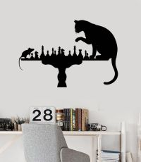 Home Decoration Wall Vinyl Decal Funny Chess Cat Mouse Art ...