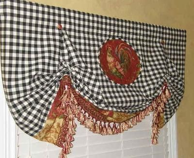 Custom Balloon Valance French Country Waverly Toile Rooster Check Curtains Trim Curtain Trim