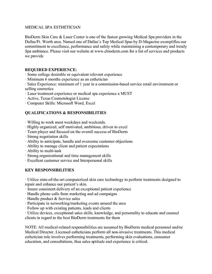 Medical Esthetician Resume Sample Jobresume