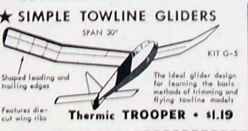 Vintage THERMIC TROOPER Jasco OT Tow Line Glider Model