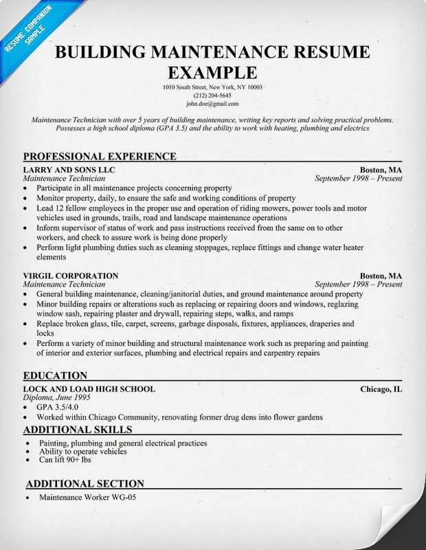 Building Maintenance Resume Sample resumecompanioncom  Career Tips and Resumes  Pinterest