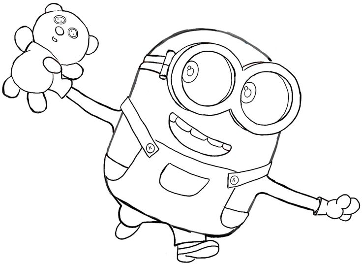 How To Draw Bob The Minion With A Teddy Bear From The
