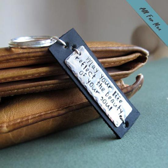 perfect gift for him  Custom Leather Keychain